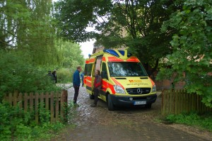 Der Krankenwagen war Teil des Veranstaltungsprogramms der Bündischen Akademie